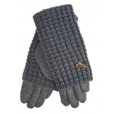 На фото 1 - Текстильные женские перчатки с украшенными шерстяными митенками, цвет серый