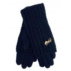 На фото 1 - Текстильные женские перчатки с украшенными шерстяными митенками, цвет тёмно-синий