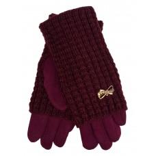 На фото 1 - Текстильные женские перчатки с украшенными шерстяными митенками, цвет бордовый