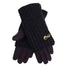 На фото 1 - Текстильные женские перчатки с украшенными шерстяными митенками, цвет шоколад
