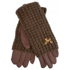 На фото 1 - Текстильные женские перчатки с украшенными шерстяными митенками, цвет коричневый