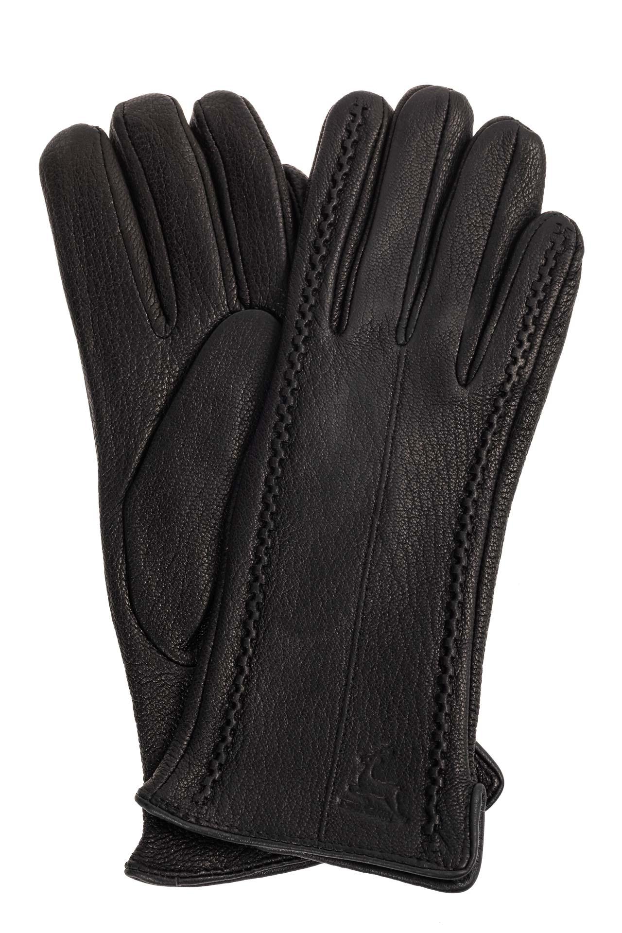 На фото 1 - Чёрные женские перчатки из натуральной кожи оленя