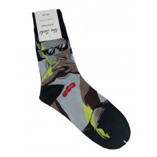 На фото 1 - Высокие носки с молодёжным принтом, цвет чёрный