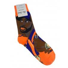 На фото 1 - Высокие носки с молодёжным принтом, цвет оранжевый