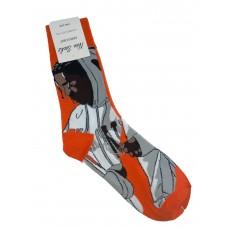 На фото 1 - Высокие носки с молодёжным принтом, цвет красно-оранжевый