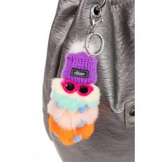 На фото 2 - Брелок из натурального меха с серебряным кольцом, фиолетового цвета