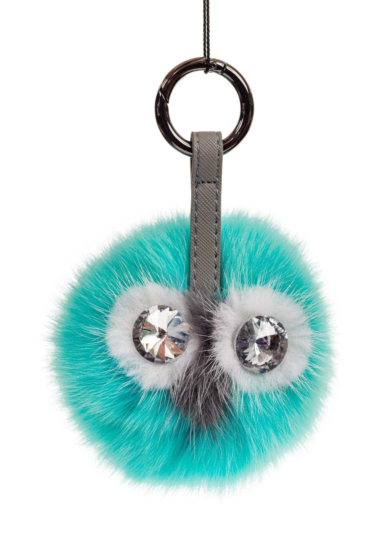 На фото 1 - Брелок с веселым дизайном из натурального меха бирюзового цвета