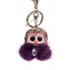 На фото 1 - Брелок в форме совы со стразами фиолетового цвета