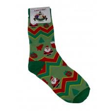 На фото 1 - Высокие молодёжные носки с новогодним принтом, мультицвет