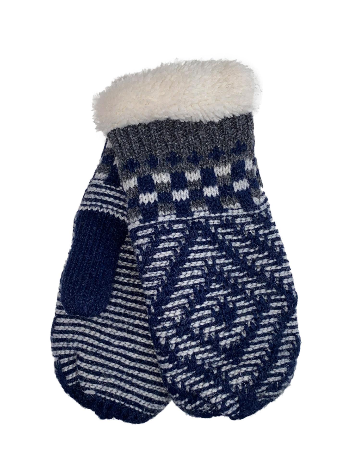 Женские тёплые варежки из шерсти и акрила с орнаментом, цвет тёмно-синий с белым и серым12345VP1220/1