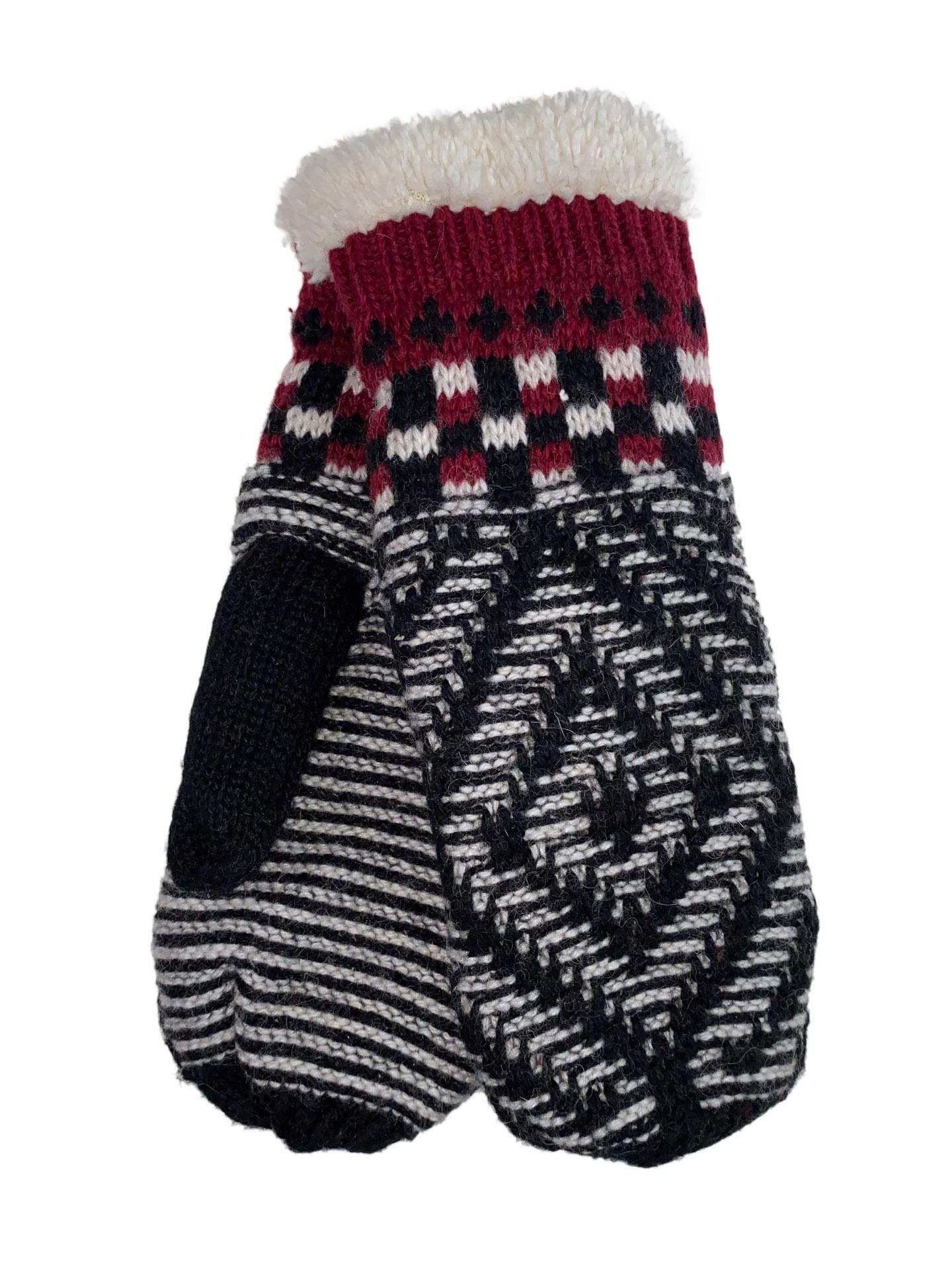 Женские тёплые варежки из шерсти и акрила с орнаментом, цвет чёрный с бордовым и белым12345VP1220/3