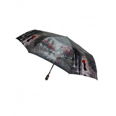 На фото 1 - Зонт складной женский с принтом, цвет серый