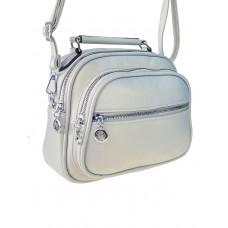 На фото 1 - Женская сумка-купол из фактурной экокожи, цвет светло-серый