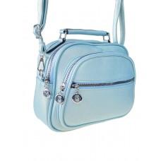 На фото 1 - Женская сумка-купол из фактурной экокожи, цвет нежно-голубой
