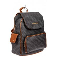 На фото 1 - Женский рюкзак из искусственной кожи, цвет темно-серый