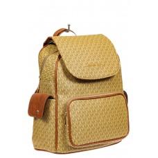 На фото 1 - Женский рюкзак из искусственной кожи, цвет бежево-коричневый