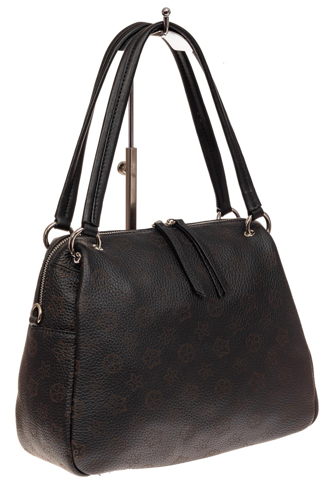 На фото 1 - Вместительная женская сумка из натуральной кожи, цвет черный
