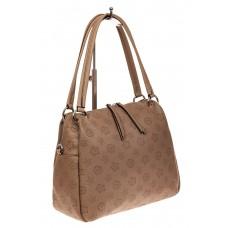 На фото 1 - Вместительная женская сумка из натуральной кожи, цвет бежевый