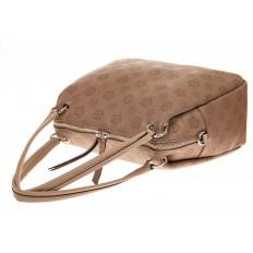 На фото 3 - Вместительная женская сумка из натуральной кожи, цвет бежевый