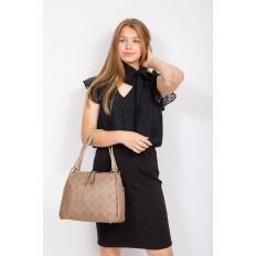 На фото 4 - Вместительная женская сумка из натуральной кожи, цвет бежевый