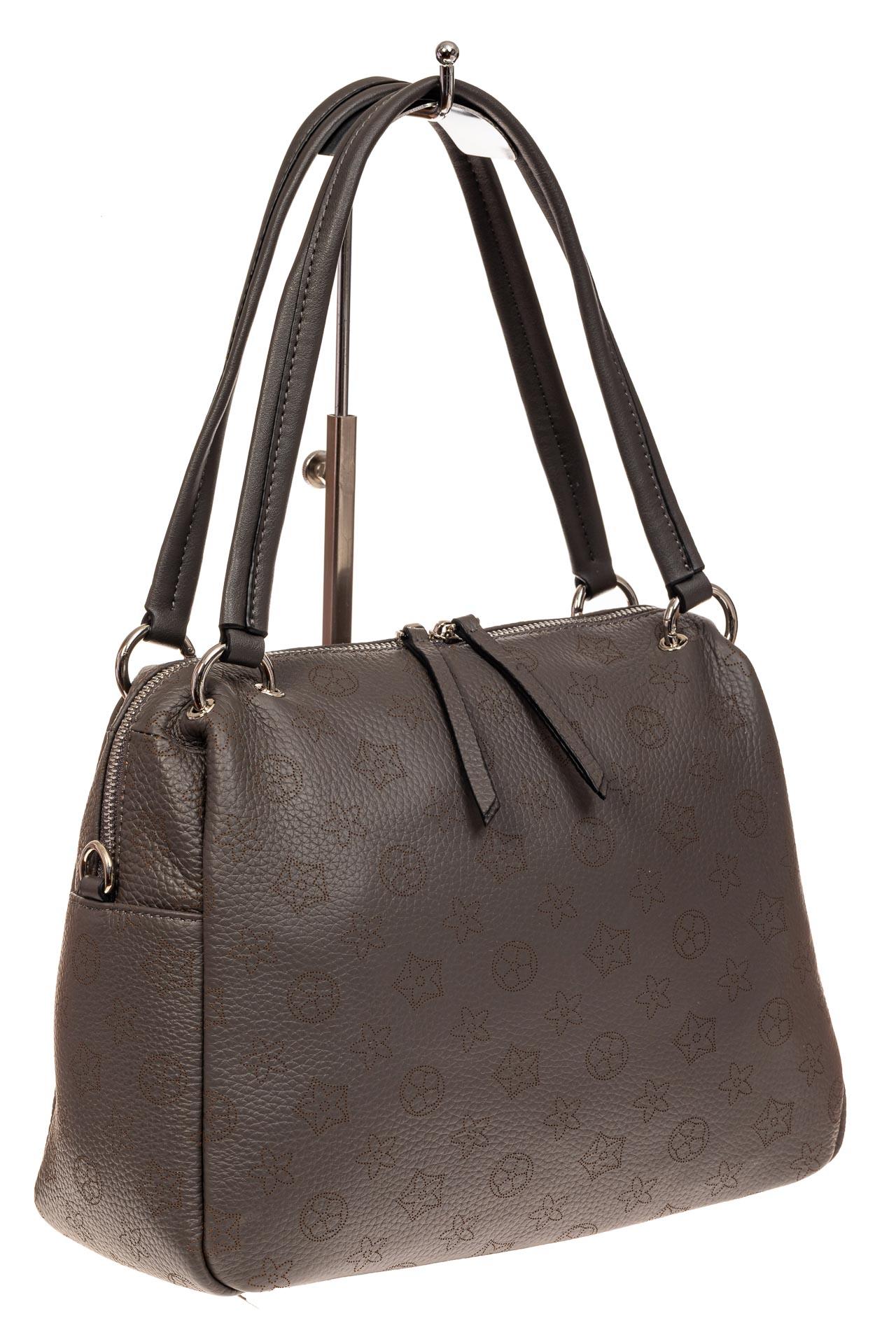 На фото 1 - Вместительная женская сумка из натуральной кожи, цвет серый