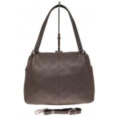 На фото 2 - Вместительная женская сумка из натуральной кожи, цвет серый