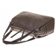 На фото 3 - Вместительная женская сумка из натуральной кожи, цвет серый