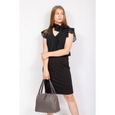 На фото 4 - Вместительная женская сумка из натуральной кожи, цвет серый
