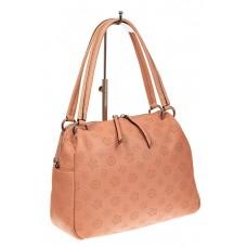 На фото 1 - Вместительная женская сумка из натуральной кожи, цвет розовый