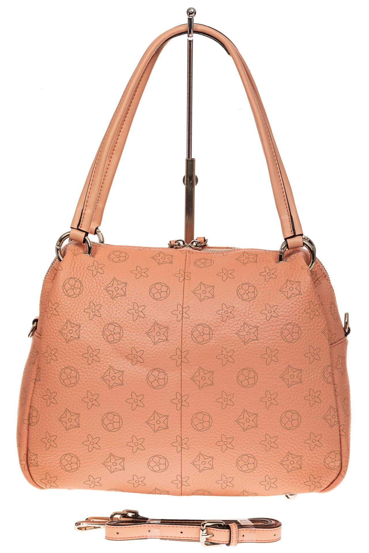 На фото 2 - Вместительная женская сумка из натуральной кожи, цвет розовый