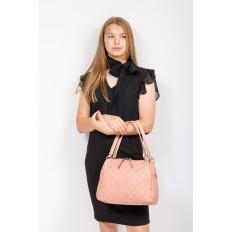 На фото 4 - Вместительная женская сумка из натуральной кожи, цвет розовый