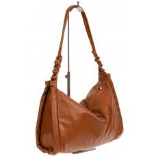 На фото 1 - Большая женская сумка из мягкой искусственной кожи, цвет рыжий