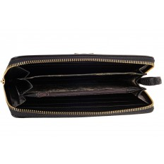 На фото 2 - Женский кошелек-клатч из искусственной кожи, цвет черный
