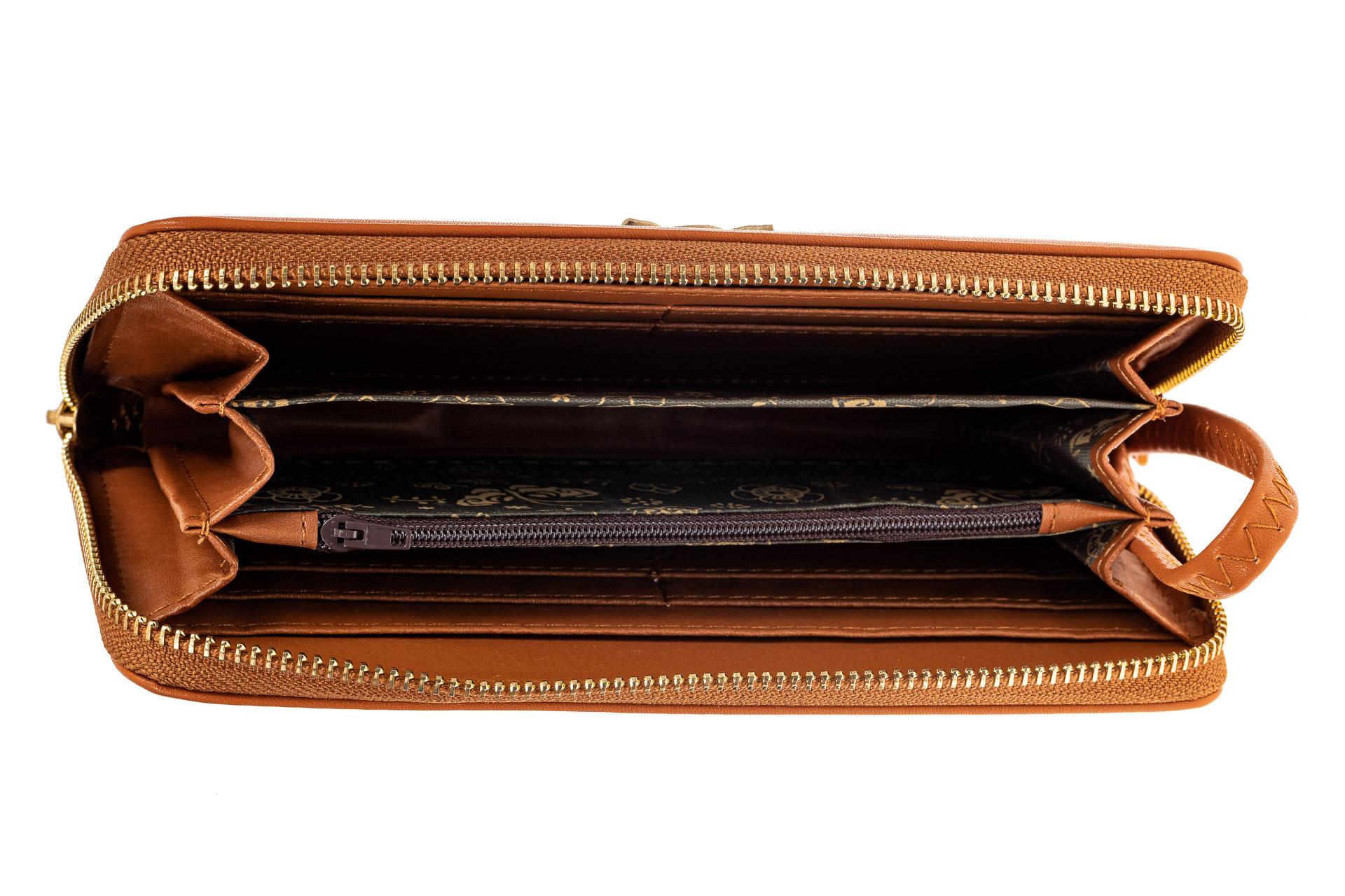 На фото 2 - Недорогой красивый кошелек на молнии для женщин из кожзама (эко), оранжевый