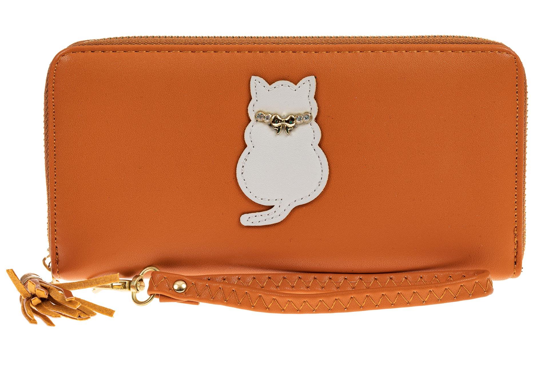 На фото 1 - Недорогой красивый кошелек на молнии для женщин из кожзама (эко), оранжевый