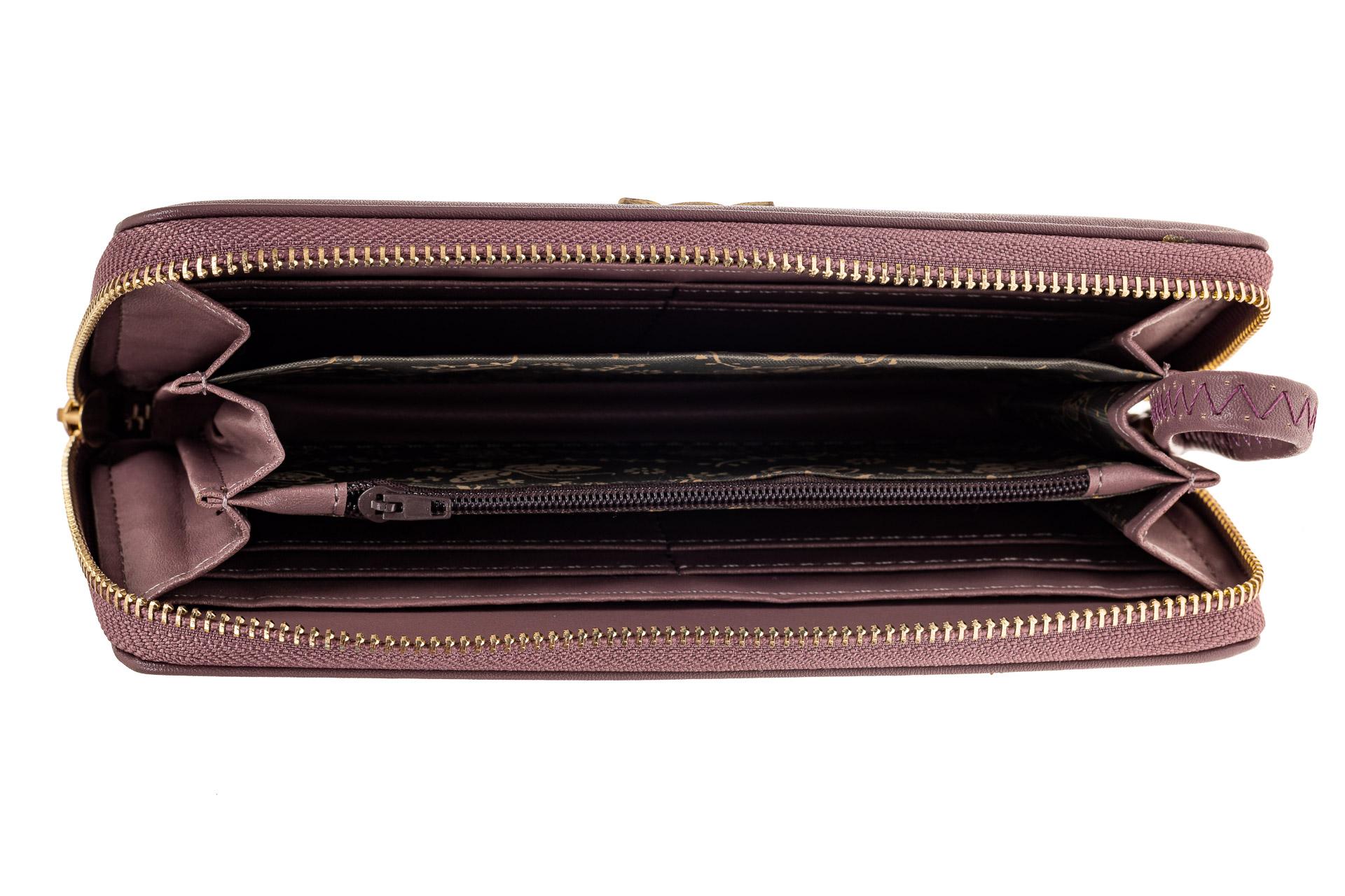 На фото 2 - Женский кошелек-клатч из искусственной кожи, цвет сирень