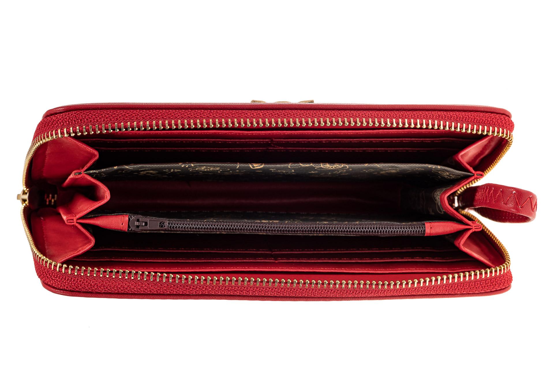 На фото 2 - Красный недорогой красивый кошелек женский из искусственной кожи