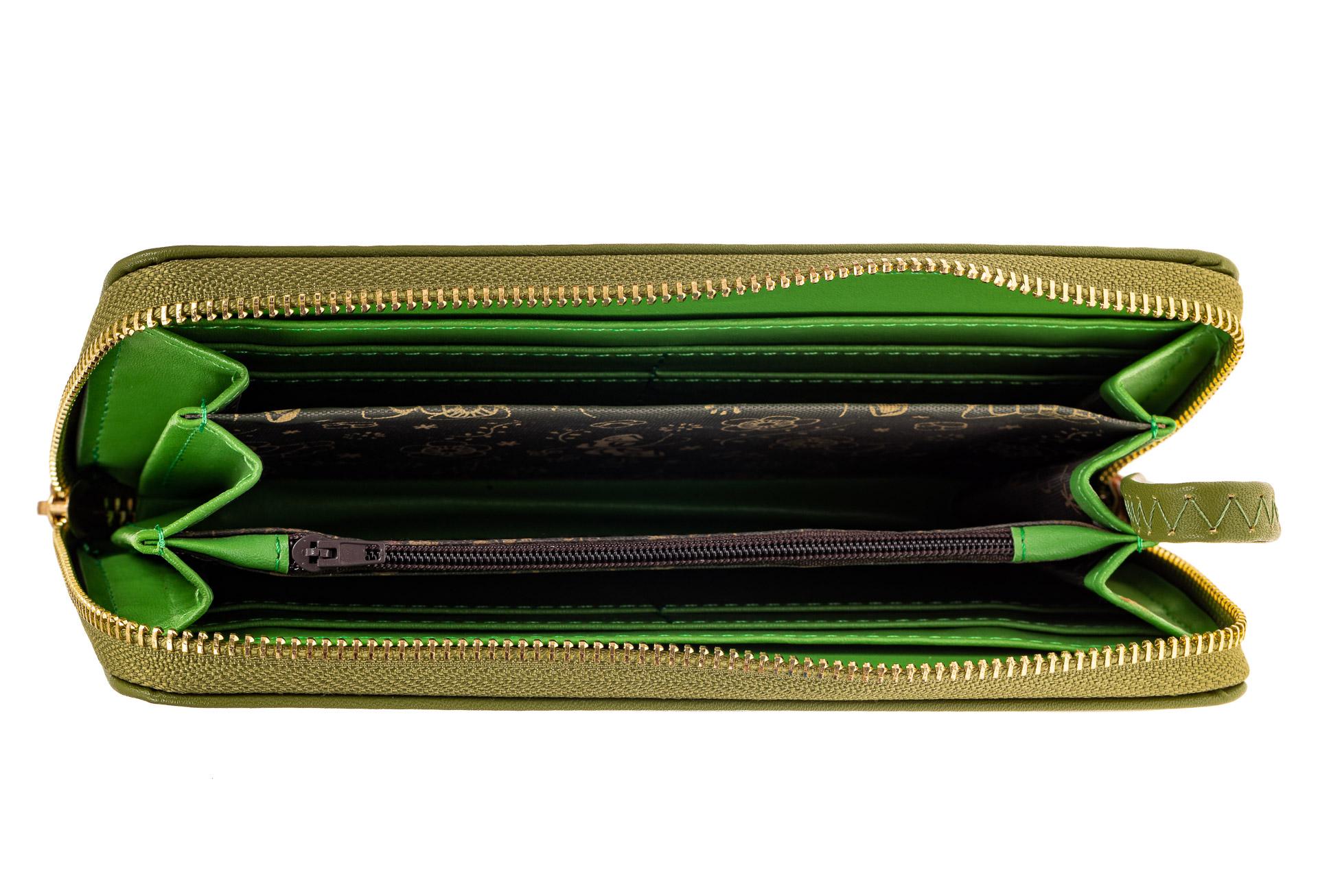 На фото 2 - Недорогой красивый кошелек женский из искусственной кожи, цвет зеленый