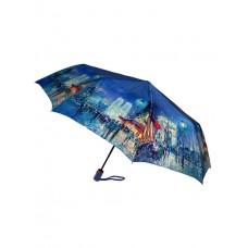 На фото 1 - Зонт женский-полуавтомат с живописным принтом, цвет синий