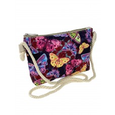 На фото 1 - Детская текстильная сумочка с принтом в виде бабочек, мультицвет