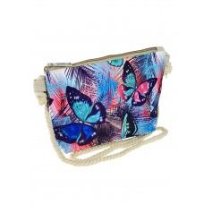 На фото 1 - Текстильная детская сумочка с принтом в виде сов, мультицвет