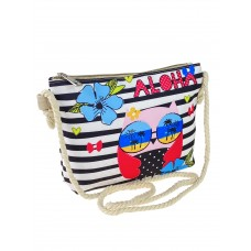 На фото 1 - Детская сумочка из полосатого текстиля с принтом, мультицвет