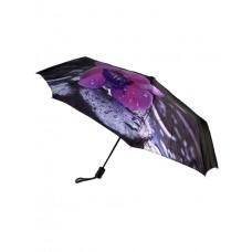 На фото 1 - Женский зонт-полуавтомат с цветочным принтом, цвет чёрный