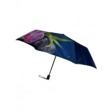 На фото 1 - Женский зонт-полуавтомат с цветочным принтом, цвет тёмно-синий