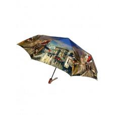 На фото 1 - Женский зонт-полуавтомат с живописным принтом, мультицвет