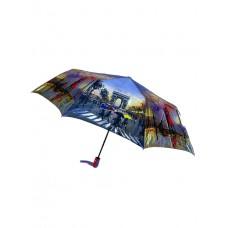 На фото 1 - Женский зонт-полуавтомат с художественным принтом, цвет сиреневый