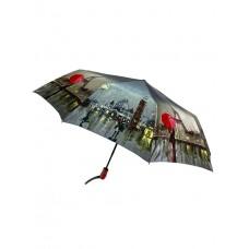 На фото 1 - Женский зонт-полуавтомат с художественным принтом, мультицвет
