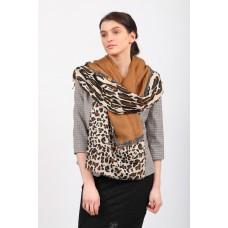 На фото 1 - Легкий палантин платок из хлопка и вискозы, цвет коричневый