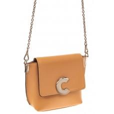 На фото 1 - Женская сумка кросс-боди из натуральной кожи, цвет бежевый