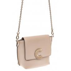 На фото 1 - Женская сумка кросс-боди из натуральной кожи, цвет серо-белый